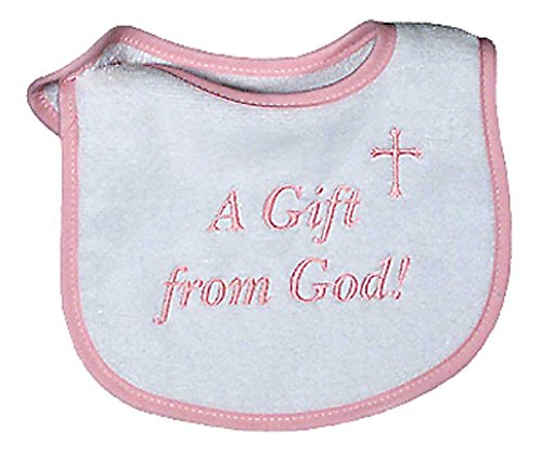Embroidered Baby Gift Bib - Raindrops A Gift From God Embroidered Bib, Pink