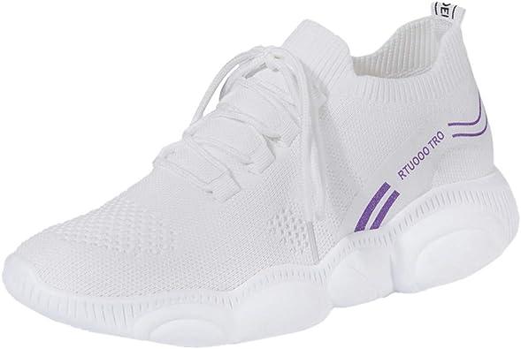 FAMILIZO Zapatillas Mujer Running Zapatillas Deportivas De Mujer Sneakers Women Primavera Verano Fashion Girls Wild Casual Zapatos De Vuelo Transpirables Zapatillas Tejidas: Amazon.es: Zapatos y complementos