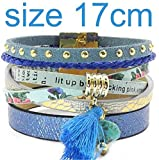 Olive Tayl Summer Leather Bracelet 5 Color Women Charm Bracelets Bohemian Bracelets & Bangles Wholesale Jewelry for Women,blue17cm