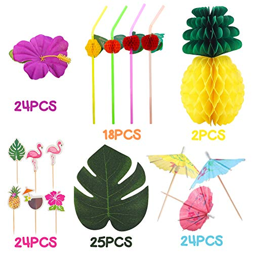LovesTown Luau Party Decorations,117 Pcs Tropic Alaloha Party Hawaiian Decorations Set with Palm Leaves Luau Flowers Tissue Pineapple for Table Decor Photo Props