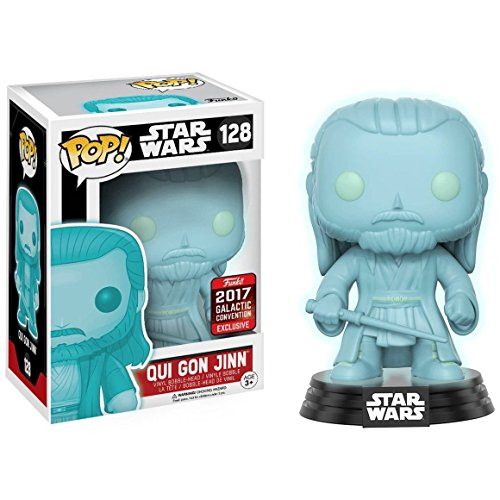 - Funko Qui Gon Jinn [Glow-in-Dark] (2017 Galactic Convention Exclusive) POP! x Star Wars Vinyl Figure + 1 Official Star Wars Trading Card Bundle (13479)