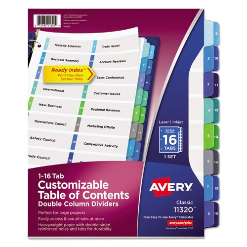 - Ready Index Two-Column Table of Contents Divider, Title: 1-16, Multi, Letter, Sold as 16 Each