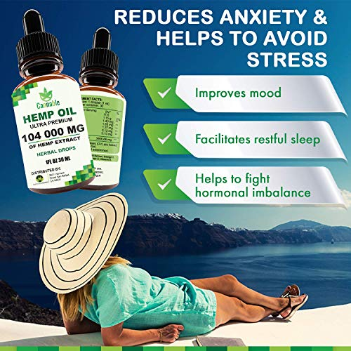 51Rifeh5YLL - Hemp Oil Extract 104 000 mg, All-Natural Drops for Pain, Stress, Anxiety Relief, Deep Restful Sleep