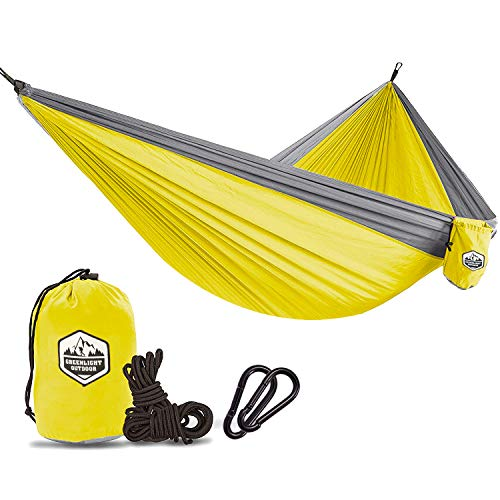 Greenlight Outdoor Hammock - Lightweight Parachute Portable Hammocks for Hiking, Travel, Backpacking, Beach, Yard Gear Includes Nylon Straps & Steel Carabiners