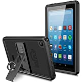 Temdan Fire HD 8 Tablet Waterproof Case (Fits 6th Gen) with Adjustable Tablet Stand Built-in Screen Protector Rugged Waterproof Shockproof Case for HD 8 Tablet(Only for 6th generation)-Black/Clear