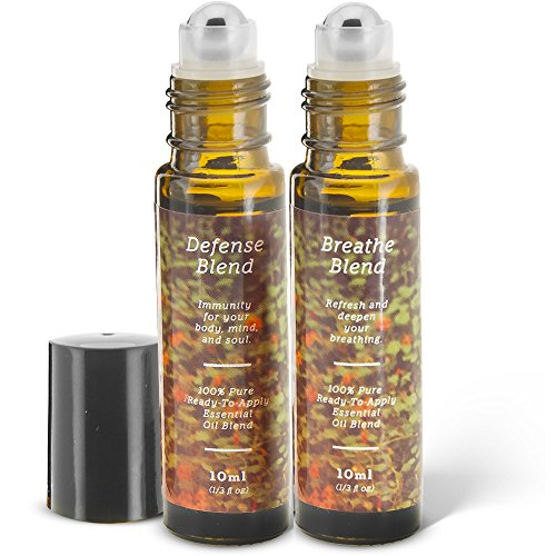 Immunity and Breathe Essential Oil Roll-On Blend Duo | Defense and Breathe | 2 10ml Ready-To-Apply Roll-Ons | 100% Pure & Therapeutic Essential Oils Blends Aromatherapy Blend Roll