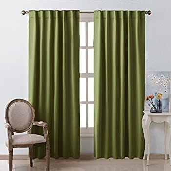 green curtains for living room. Living Room Blackout Draperies Curtains  Olive Green Color W52 x L84 2 Amazon com Darkening Window Panel Drapes