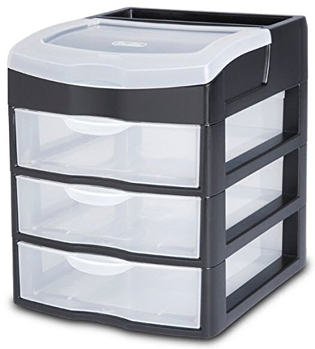 Sterilite 20639004 3 Drawer ClearviewTM Desktop Unit Pack of Two