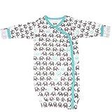Babysoy Organic Pattern Kimono Bundler (3-6 Months, Elephant/Seafoam)