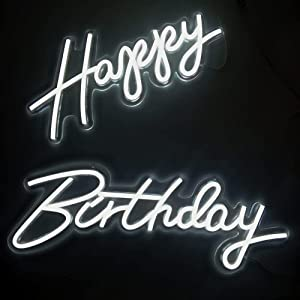 Deco Customized LED Sign 30 x 22 inches Happy Birthday Sign, Transparent Base with LED Flex Neon Light for Gift Party Bar Beer Wall Decor Lights (White 30
