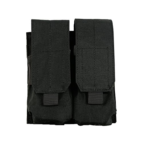 Outry M4 M16 AR-15 Type Magazine Pouch Mag Holder - Triple/Double / Single Airsoft MOLLE Mag Pouch - Velcro Closed Flap Version - Double - Black