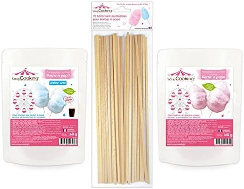 Algodón de azúcar rosa y azul + palillos: Amazon.es: Hogar