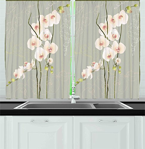 Ambesonne Kitchen Decor Collection, Orchid Flowers Floral Nature Country Home Cafe Design Petals Stencil Art Gift, Window Treatments for Kitchen Curtains 2 Panels, 55X39 Inches, Grey Pastel Pink