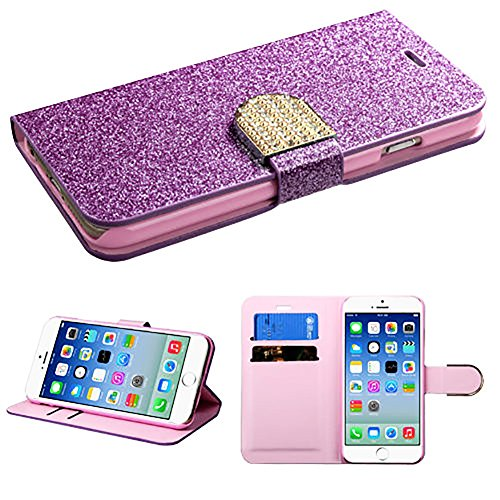 """myLife Luxury Design {Bifold} Magnetic Wallet for the NEW iPhone 6 (6G) 6th Generation Phone by Apple, 4.7"""" Inch {Plum Purple and Baby Pink """"Girly Glitter Bling"""" Textured Faux Vegan Leather - Money, ID and Credit Card Holder Folio Design}"""