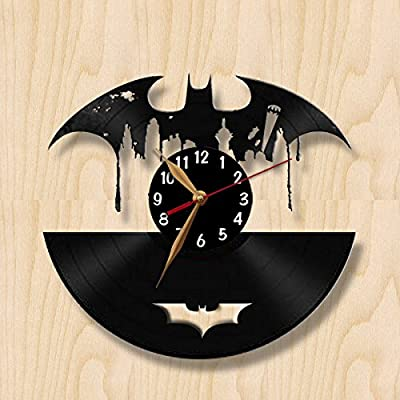 Vinyl Record Clock - BATMAN Wall Clock 12 inch (30cm) / Laser cut of LP Clock / Vintage Vinyl Record (Black clockface, Arabic digits)