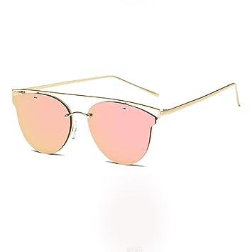 LHWY Nouveau Twin-poutres Classic femme cadre métallique miroir lunettes de soleil lunettes de chat (Or, A)