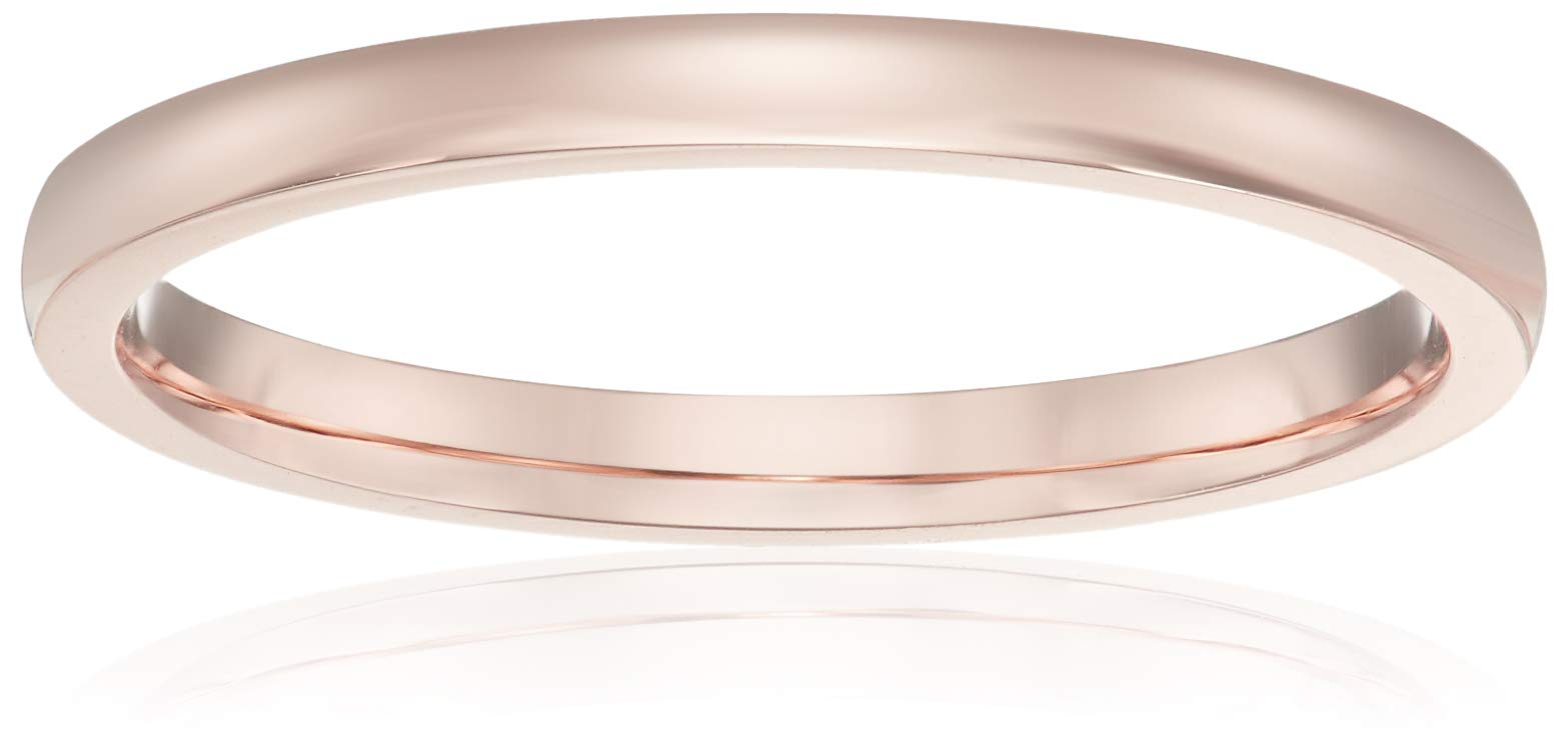 Decadence Unisex 14K Rose Gold 2mm Polished Comfort Feel Plain Wedding Band, 4.5