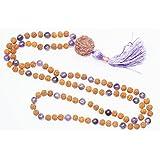 """Sahasrara"" Crown Chakra 108 Malabeads Amethyst Rudraksha Necklace Japamala"