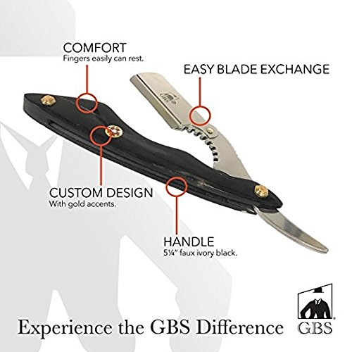 GBS Classic Straight Edge Razor Barber Shavette Professional Quality - Black Horn Handle - Gold Accents with Leather Case + 10 Blades Men's Manual Shaver Excellent Locking Safety Mechanism by GBS