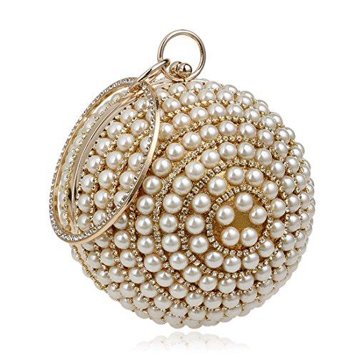 perla Da Oro Donne Partito Borsa Sera rotonda Anello Dunland Abito Pochette B1x7Hqg