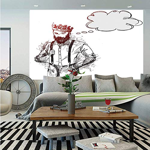 Indie Wall Mural,Cool Hipster King Character with Crown and Thinking Bubble Sketch Artwork Decorative,Self-Adhesive Large Wallpaper for Home Decor 55x78 inches,Light Grey Black Red