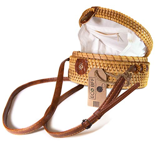 ECO BFF Crossbody Rattan Bag Round Natural Handwoven Bali Shoulder Strap & Snap