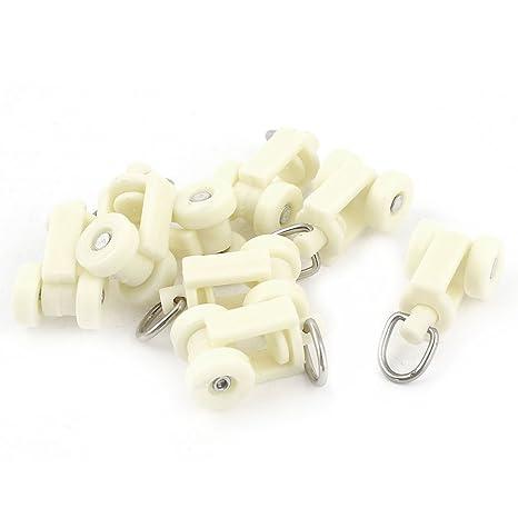 Plástico Blanco Riel Cortina Raíl Rodillos 12mm Rueda De Diámetro 8 Piezas
