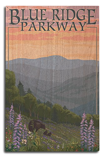 Lantern Press Blue Ridge Parkway, Virginia - Bear Family and Spring Flowers (10x15 Wood Wall Sign, Wall Decor Ready to -
