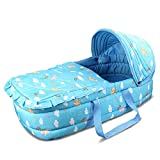 Olpchee Portable Baby Carrycot Baby Travel Bed Crib Infant Transporter Basket with Double Handle for 0-7 Months Babies (Blue)