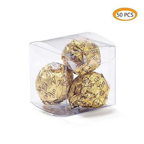 ZOOYOO Clear Plastic Box 2x2x2 inch for Weddings/Party favors/Packaging Treat Cupcake Transparent Packing Box 50pcs