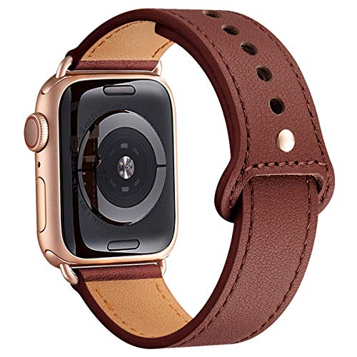 LOVLEOP Bands Compatible with Iwatch Band 38mm 40mm 42mm 44mm, Top Grain Leather Smart Watch Strap for iWatch Series 4 Series 3 Series 2 Series 1 (Wine+Rose Gold Connector, 42mm 44mm) -
