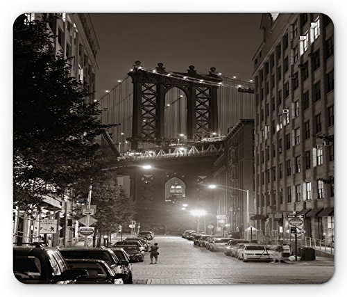 Lunarable Urban Mouse Pad, Manhattan Bridge from Street at Night Downtown New York States United States Photo, Standard Size Rectangle Non-Slip Rubber Mousepad, Army Green