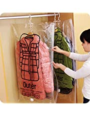 190218XM07-2×Hanging Vacuum Storage Bag 4 Pack Vacuum Seal Space Saver Bags Clear Bags for Clothes with Hook, Vacuum Compression Bag Closet Organizer with 2 Cascading Hangers Clothing Dust Cover for Jackets, Closet, Coats