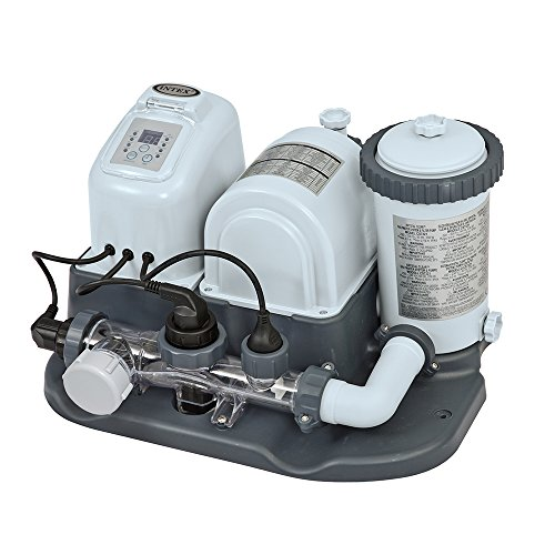 Intex 28673EG Krystal Clear Cartridge Filter Pump & Saltwater System with E.C.O. (Electrocatalytic Oxidation) for Above Ground Pools, 110-120V with GFCI ()