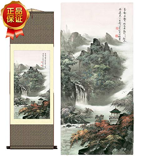 (Grace Art Asian Wall Scroll, Autumn Mountain River)