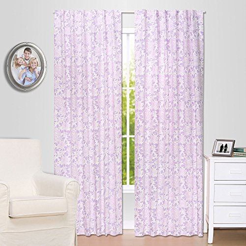 Purple Rose Floral Blackout Window Drapery Panels - Two 84 by 42 Inch Panels