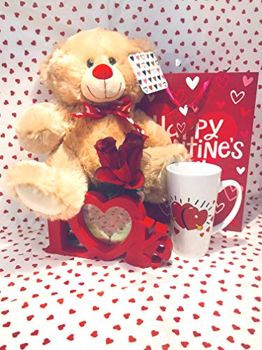 Valentines Day Lovers Gift Basket| 12 inch Teddy