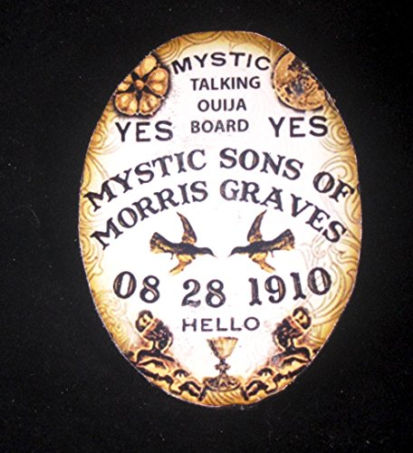 Handcrafted Ouija Board (Antique Ouija Board Pin Handcrafted Wood Fortune Telling Spirit Communication, Halloween Pendant, Oracle Day of the Dead, Party Parlor Game)