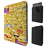 "C0889 - Cool Smiley Emoji Collage Heart Eyes Laughing Crying Vampire Cool Sunglasses For All Samsung Galaxy Tab A 7"" 8"" Tab 3 7"",Tab 4 7"" Quality Tpu Leather Pull Tab Pouch Case Sleeve Cover"