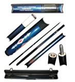 2 Piece Deluxe Fiberglass Blue Diamond Pool Stick Cue - With Carrying Case!