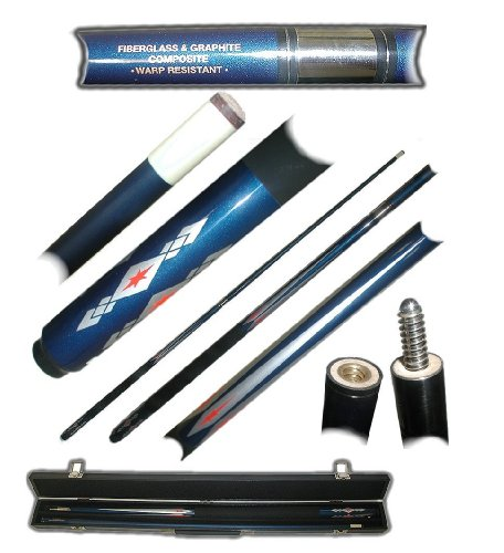 2 Piece Deluxe Fiberglass Blue Diamond Pool Stick Cue - With Carrying Case! by TMG