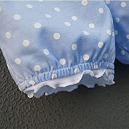 Kids Baby Girls Tops Polka Dot Lace Shirts T-shirt Shorts Pants Outfits Sets,6-12 Months,Blue