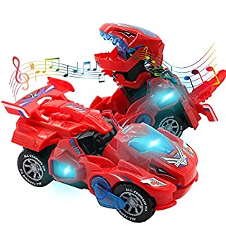 HUWAIREN Dinosaur Toys for 3-6 Year Old Girls Transforming Dinosaur Car with LED Light and Music Gifts for 3 4 5 6 7 Year Old Girl (Red)