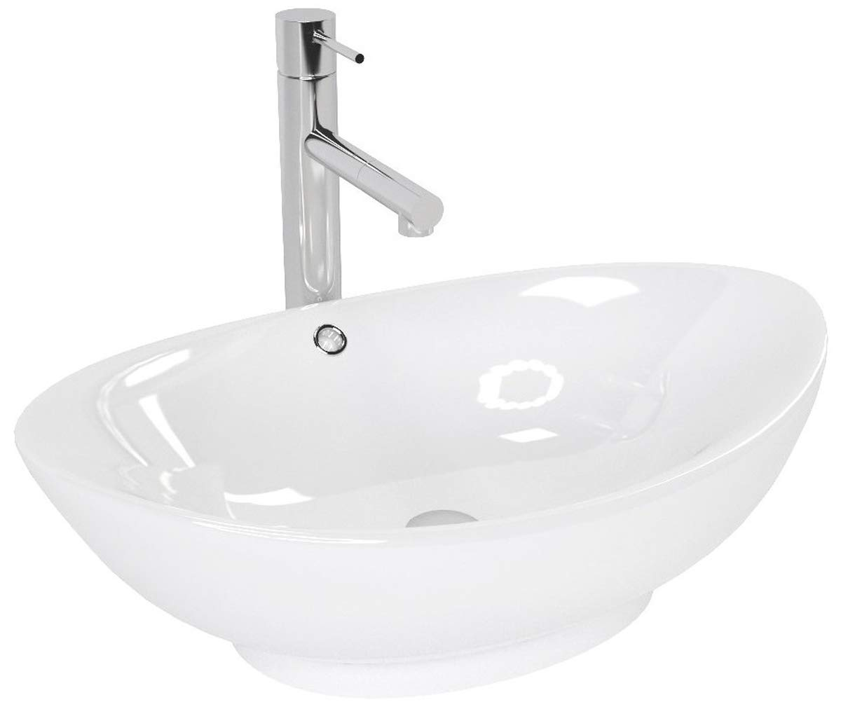 Wendy Designer Ceramic Oval Wash Basin 58.5 x 38 x 15.5 for Bathroom Guest Toilet VBChome