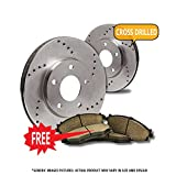 #2: Rear Kit|2 Cross Drilled Optimum Series Brake Rotors + 4 Ceramic Brake Pads|Ford F150 Lincoln Mark LT|Combo Kit-[Ships from CALIFORNIA]