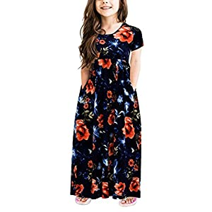 GORLYA Girl's Short Sleeve Floral Print Loose Casual Holiday Long Maxi Dress with Pockets 4-12 Years