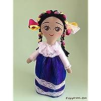 Muñeca de trapo estilo María diseñada, elaborada y pintada a mano.