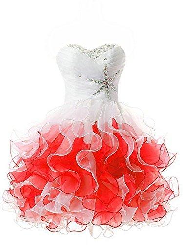 Linie Kurz Cocktailkleider Partykleider Kleid Homecoming Ballkleider Abendkleider A Rot q6PwdtT