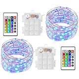 AYG 2 Set LED String Lights,Fairy String Lights Battery Operated Multi Color Changing Waterproof 8 Modes 100 LED 33foot Copper Wire Firefly Lights Remote Control for Garden Decorative Ornament