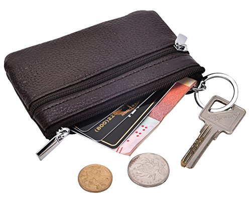 Zipper Key Ring - DEEZOMO RFID Blocking Genuine Leather Zipper Change Purse Coin Wallet with Key Ring - Coffee